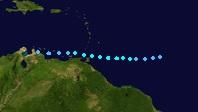 Tropical Storm Gaston (2016 - Track)