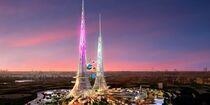 Neon Twin Towers