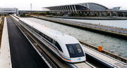 A maglev train coming out, Pudong International Airport, Shanghai