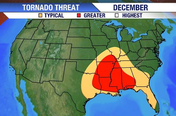 Image - Tornado Risk Area (December).jpg | Hypothetical Tornadoes ...