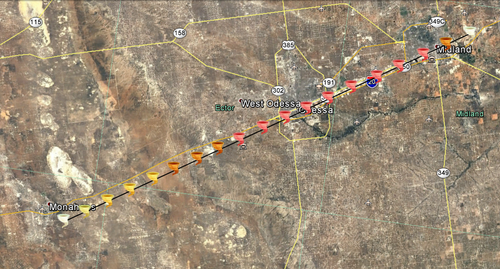 2036 Mohanes-Midland, Texas tornado track