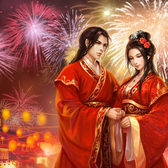 Meng Hao and Xu Qing on their wedding day