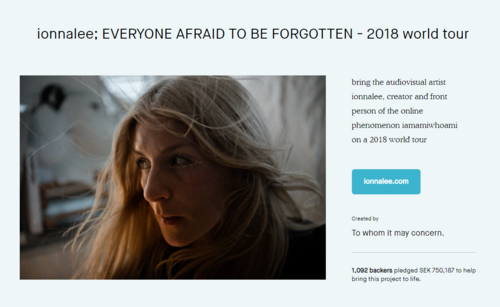 ionnalee; EVERYONE AFRAID TO BE FORGOTTEN - 2018 world tour banner