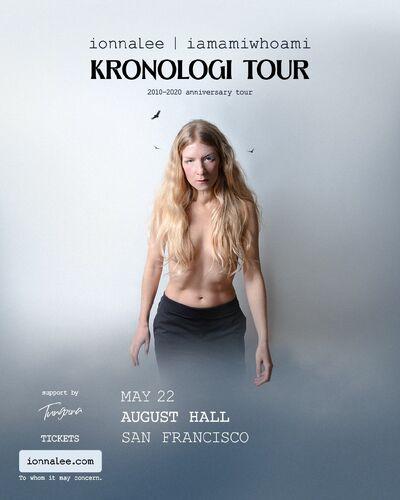 ionnalee - iamamiwhoami KRONOLOGI tour - August Hall promo