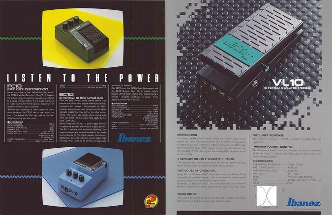 1986 Power effects dealer sheet