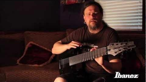 Mårten Hagström of Meshuggah discussing the Ibanez M8M signature 8-string guitar
