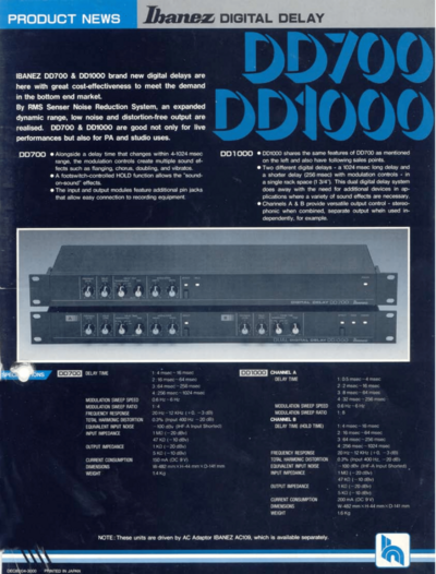 1986 DD700-DD1000 dealer sheet