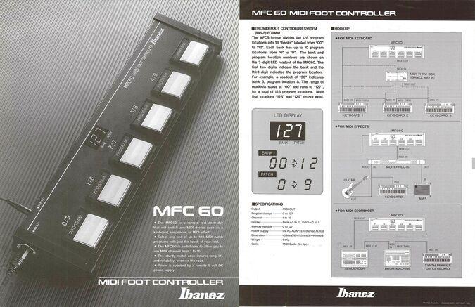 1987 MIDI foot controller dealer sheet