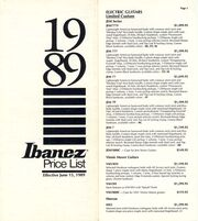 1989 USA price list front-cover