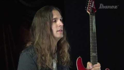 Kiko Loureiro and his new signature Ibanez guitar, the KIKO10P-TRR