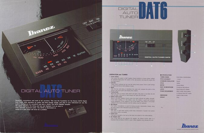 1986 DAT6 tuner dealer sheet