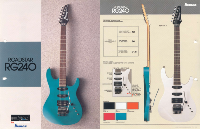 1988 Roadstar RG240 dealer sheet