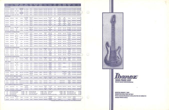 1999 USA catalog   Ibanez Wiki   FANDOM powered by Wikia
