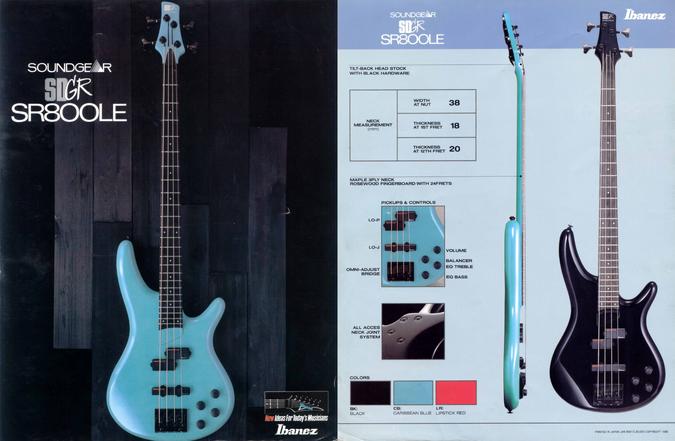 1988 Soundgear SR800LE dealer sheet
