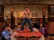 Gibby dances without his shirt