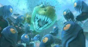 Egbert scares Piranhas