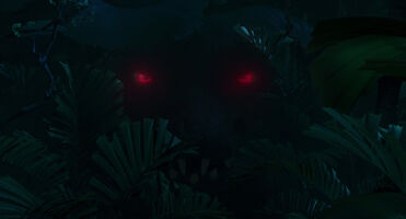 Rudy's red eyes in the darkness