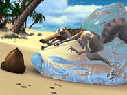 Scrat stuck in ice block trying to get acorn