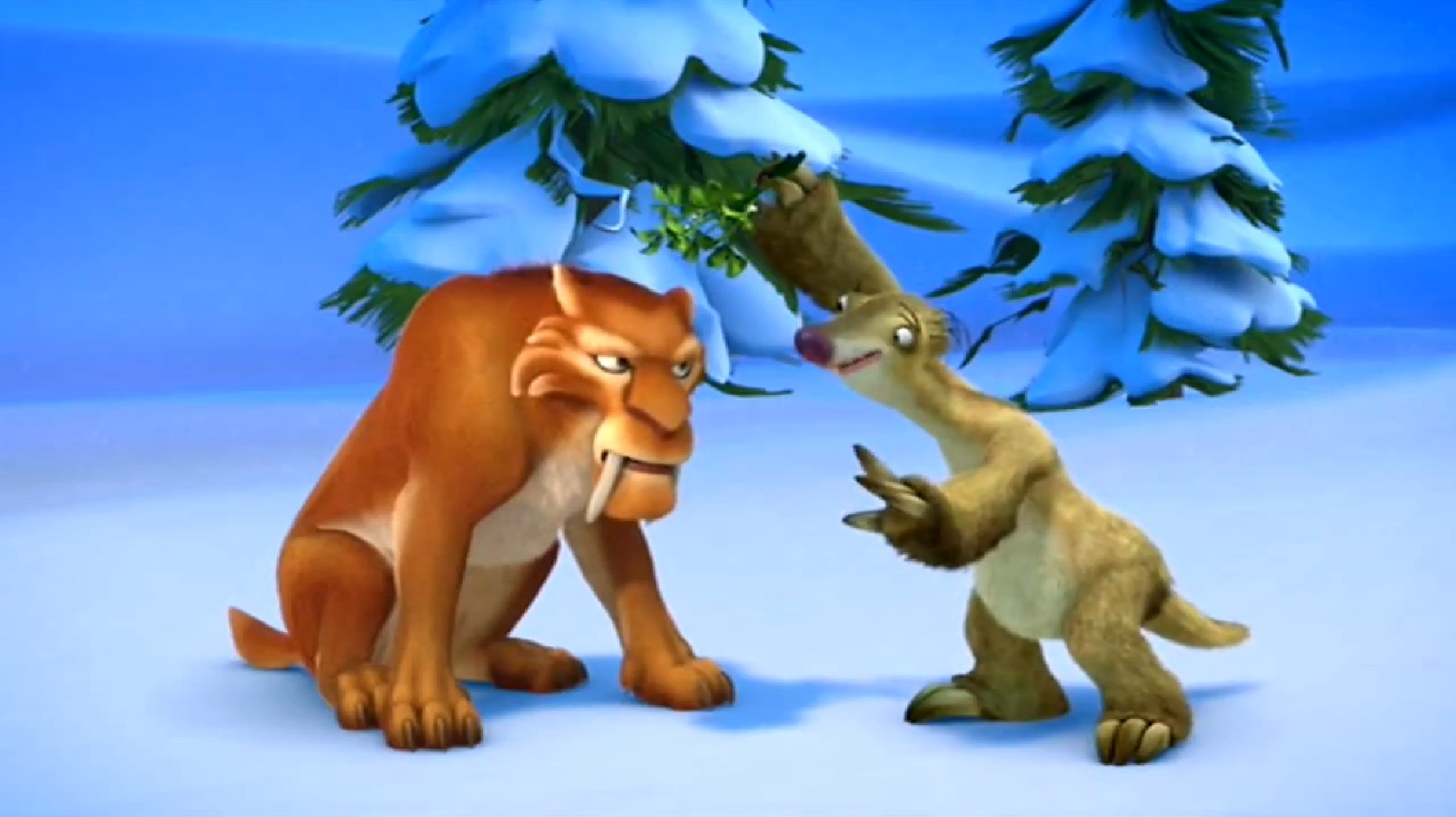 ice age a mammoth christmas sid holds mistletoe over diegojpg - Ice Age Mammoth Christmas