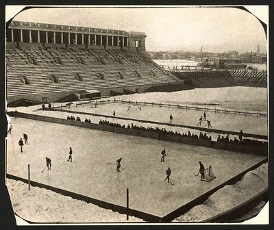 Outdoor hockey at Harvard Stadium