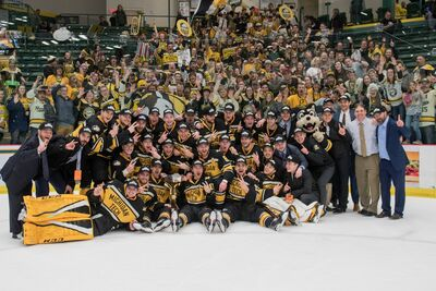 2018 WCHA Men's champions Michigan Tech Huskies