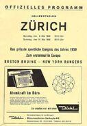 1959 Bruins Rangers tour Zurich program