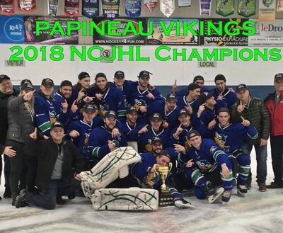 2018 NCJHL champions Papineauville Vikings