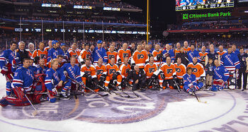 Philadelphia Flyers and New York Rangers Alumni Game Group Portrait