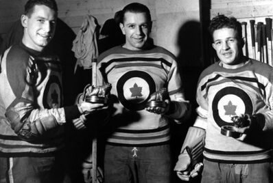 Kraut Line in Ottawa RCAF Flyers uniforms