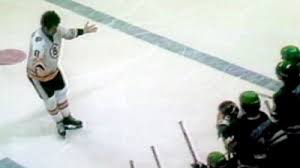 John Wensink challenging Minnesota North Stars bench to a fight