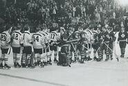6Apr1969-Bruins Leafs handshake line
