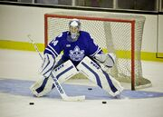 An ice hockey goalie in a blue jersey and white pads crouches in front of a goal.
