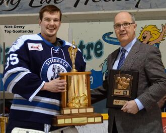 Nick Deery accepting Top Goaltender Award