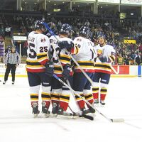 The colts celebrate a goal by Bryan Little during the second period