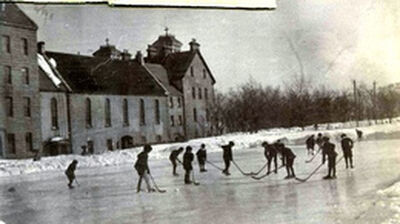 Hockey outside St. Bonaventure's College