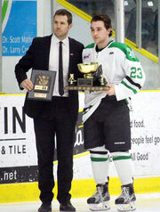 Jeremey Leipsic receives Mike Ridley Trophy