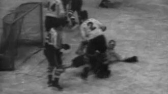 New York Americans Defeat Boston Bruins, 2-1, in Season Home Opener at Madison Square Garden (1938)