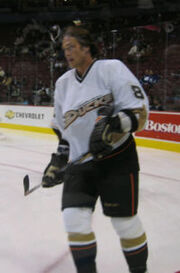 Teemu Selanne skating on the ice