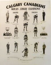 """A collage of 14 players and coaches and two championship trophies under the headline text """"Calgary Canadians World's Junior Champions 1925 1926""""."""