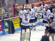 South Carolina Stingrays celebrate winning the 2001 Kelly Cup