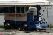 Olympia Zamboni in patio of Detroits HockeyTown restaurant