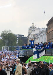 2011 IIHF World Championship gold medal celebrations in Helsinki
