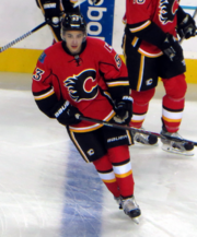Gaudreau skates across the blue line during pre-game warm up.