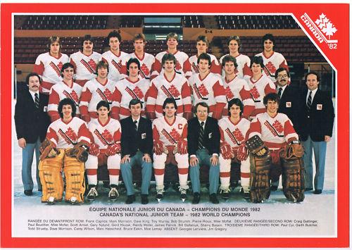 Champion Team From Canada The 1982 World Junior Ice Hockey