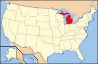 Map of USA MI
