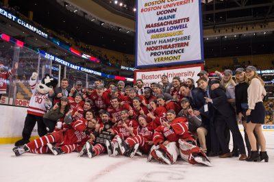 2018 Hockey East Men's champions Boston University Terriers