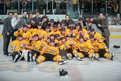2017 WCHA Men's champs Michigan Tech Huskies