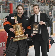 Troy Martyniuk accepting Top Goaltender Award-0