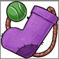 Purple Sock and Ball