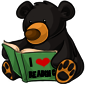 Reading Black Bear Plushie